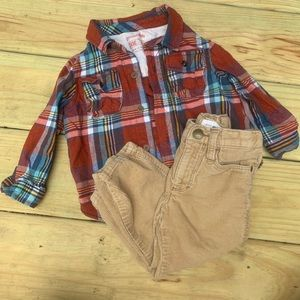 Target Old Navy Flannel Corduroy Pant Set 24m